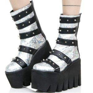 Dolls Kill Current Mood Holographic Shatter Boots